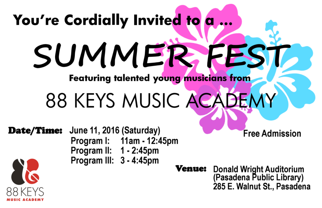 SUMMER FEST Featuring talented young musicians from 88 KEYS MUSIC ACADEMY